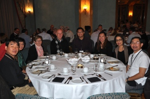 GCF Calgary pastors enjoying dinner with friends at 2014 Banff Pastors Conference