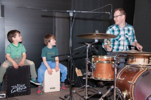 The Rees boys drumming.