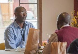 Winnipeg Church Planter Shadrack sharing lunch with Pastor Tim Coleman of Kitimat.
