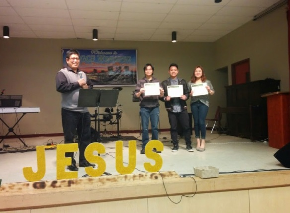 (right to left: Janina Sambilay, Rani Sambilay. Karl Apostol and Pastor Reymus)